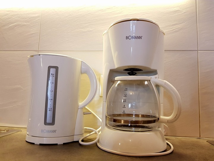 In the apartments you will find the convenient water kettle and coffee machine for your breakfasts.