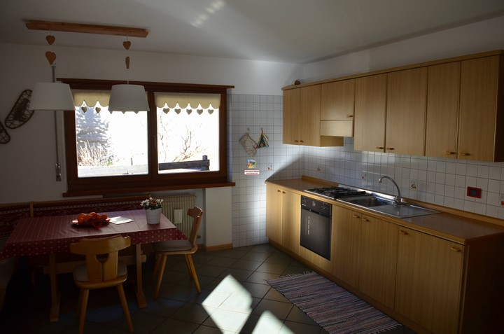 Holidays in the Dolomites of Val di Fassa. Apartment no. 1, 60 m2 for 4 people. Kitchen