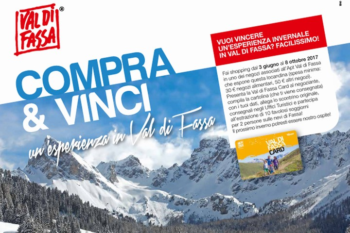 Shop and win an experience in Val di Fassa!