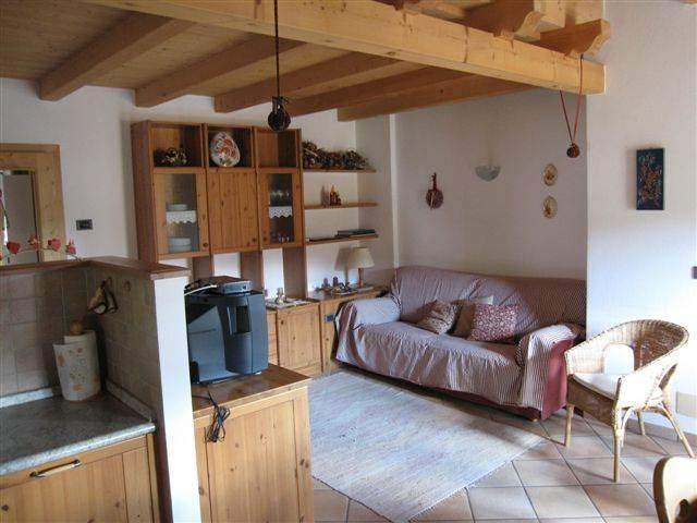 living room with double couch, dishwashing machine. a charming mountain style,with a particular attention to details.